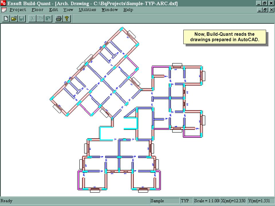 Now, Build-Quant reads the drawings prepared in AutoCAD.