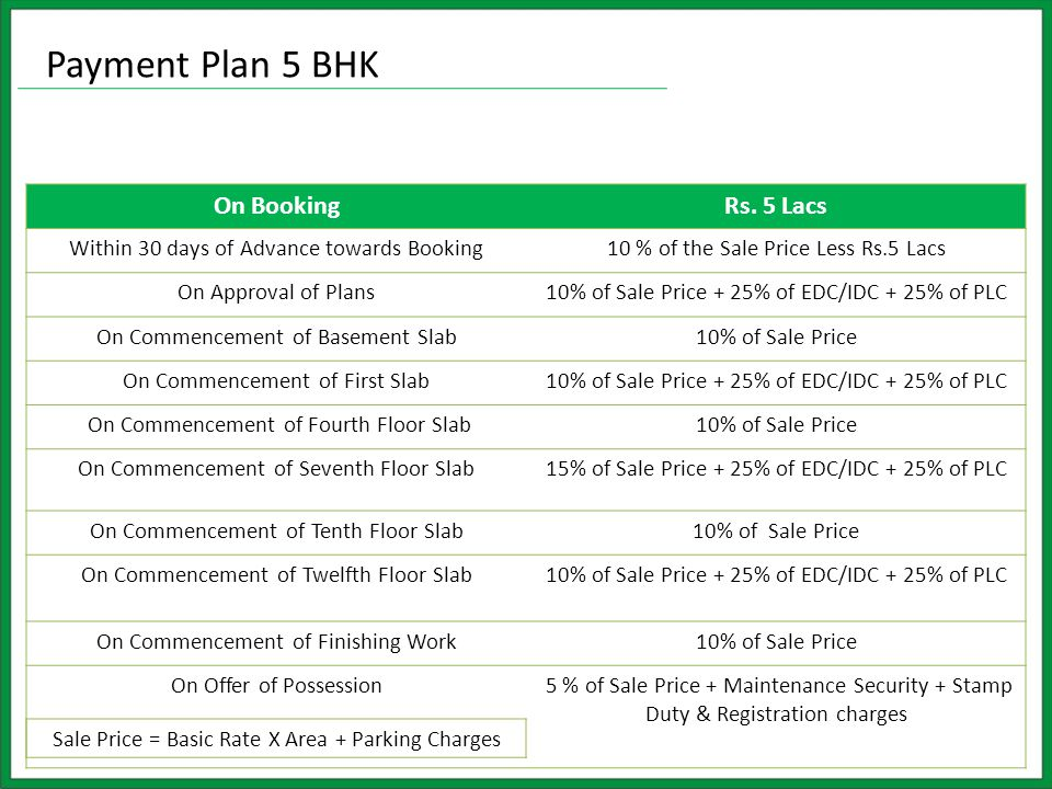 On BookingRs. 5 Lacs Within 30 days of Advance towards Booking10 % of the Sale Price Less Rs.5 Lacs On Approval of Plans10% of Sale Price + 25% of EDC