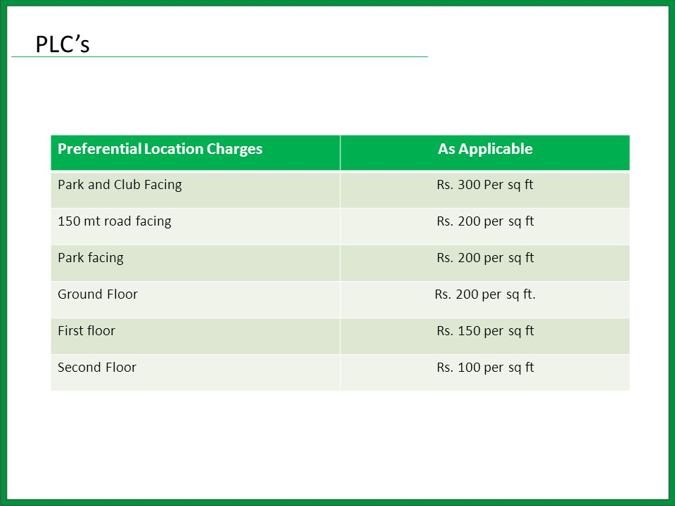 PLC's Preferential Location ChargesAs Applicable Park and Club FacingRs.