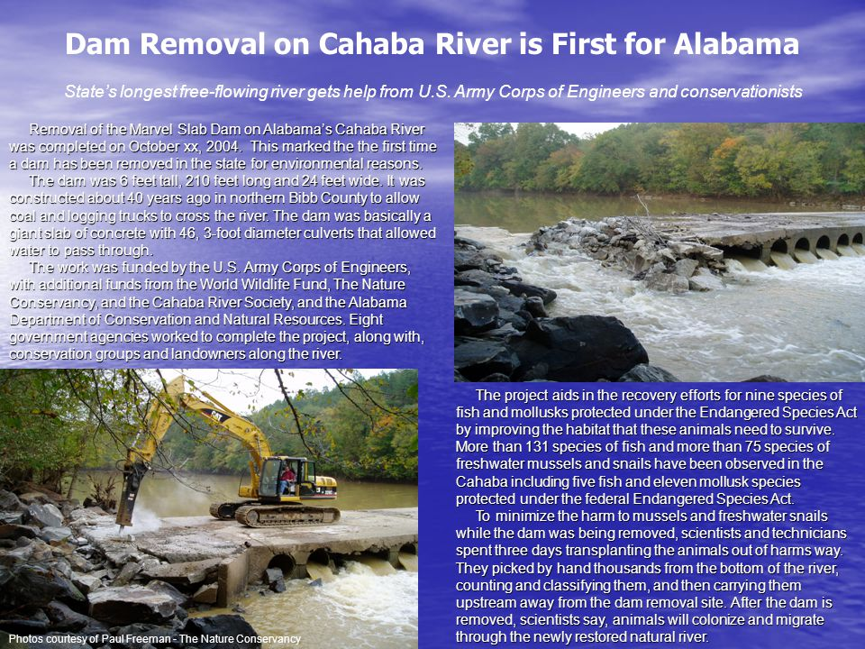 Dam Removal on Cahaba River is First for Alabama State's longest free-flowing river gets help from U.S.