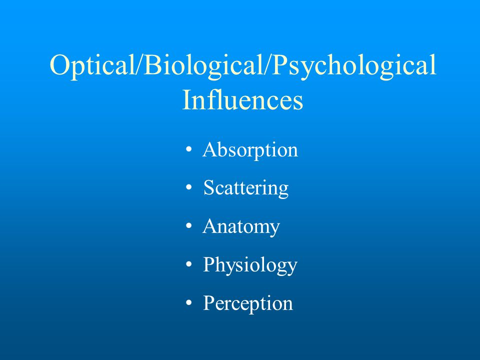 Optical/Biological/Psychological Influences Absorption Scattering Anatomy Physiology Perception