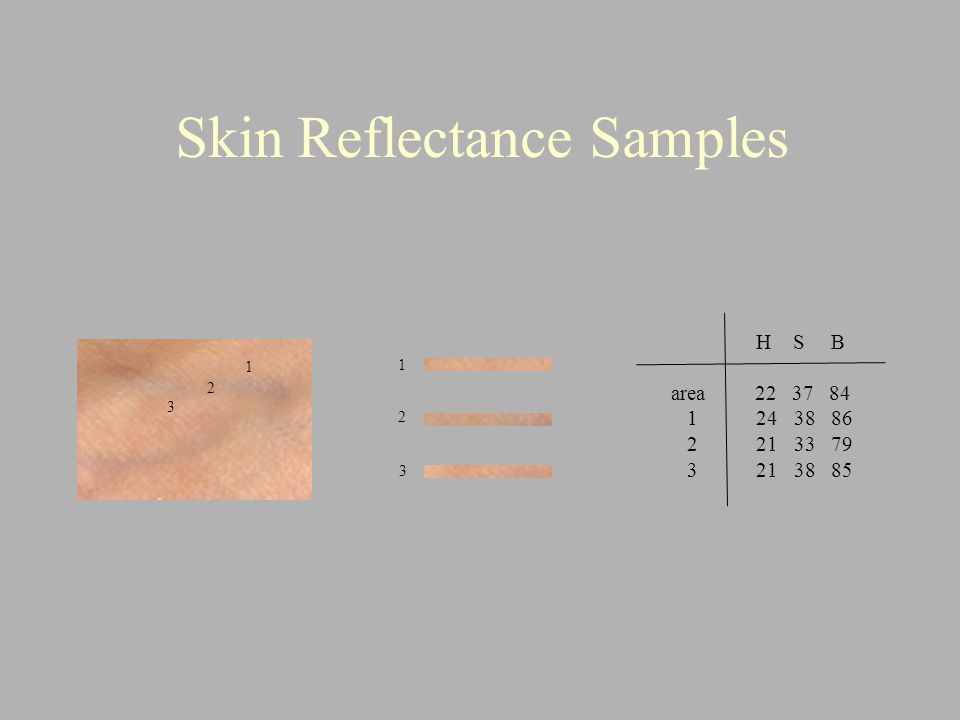 Skin Reflectance Samples 1 2 3 1 2 3 H S B area 22 37 84 1 24 38 86 2 21 33 79 3 21 38 85