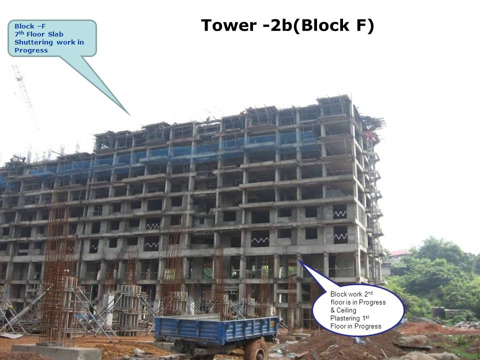 Tower -2b(Block F) Block –F 7 th Floor Slab Shuttering work in Progress Block work 2 nd floor is in Progress & Ceiling Plastering 1 st Floor in Progre