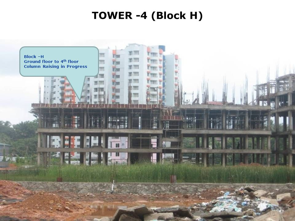 TOWER -4 (Block H) Block –H Ground floor to 4 th floor Column Raising in Progress