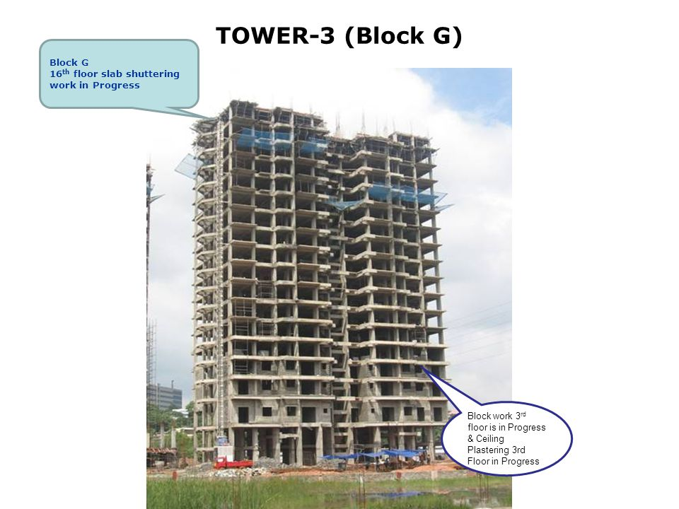 TOWER-3 (Block G) Block work 3 rd floor is in Progress & Ceiling Plastering 3rd Floor in Progress Block G 16 th floor slab shuttering work in Progress