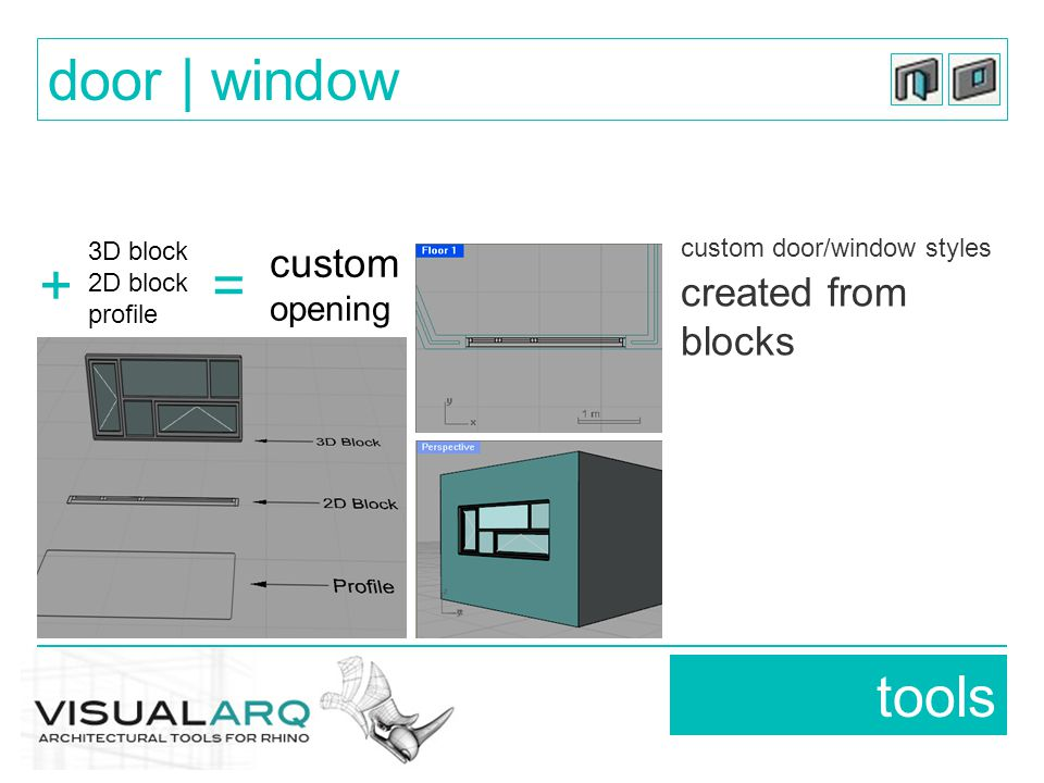 custom door/window styles created from blocks tools door | window custom opening 3D block 2D block profile +=