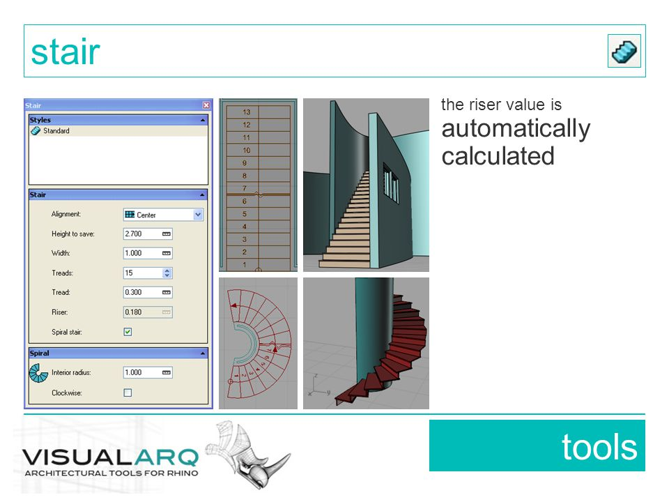tools stair the riser value is automatically calculated