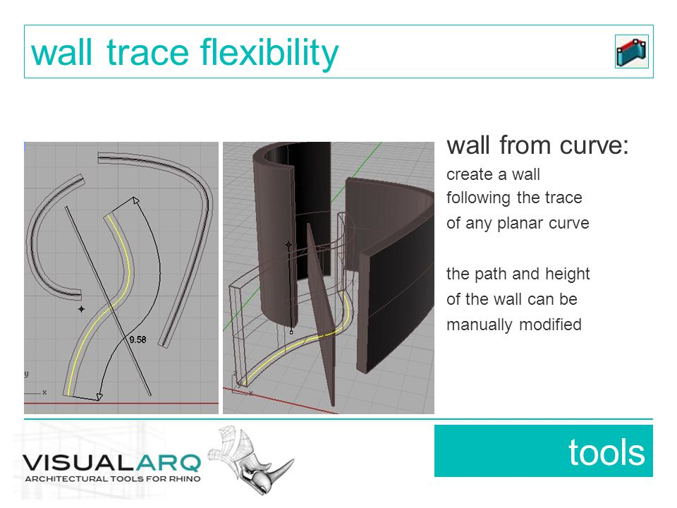 wall from curve: create a wall following the trace of any planar curve the path and height of the wall can be manually modified tools wall trace flexi