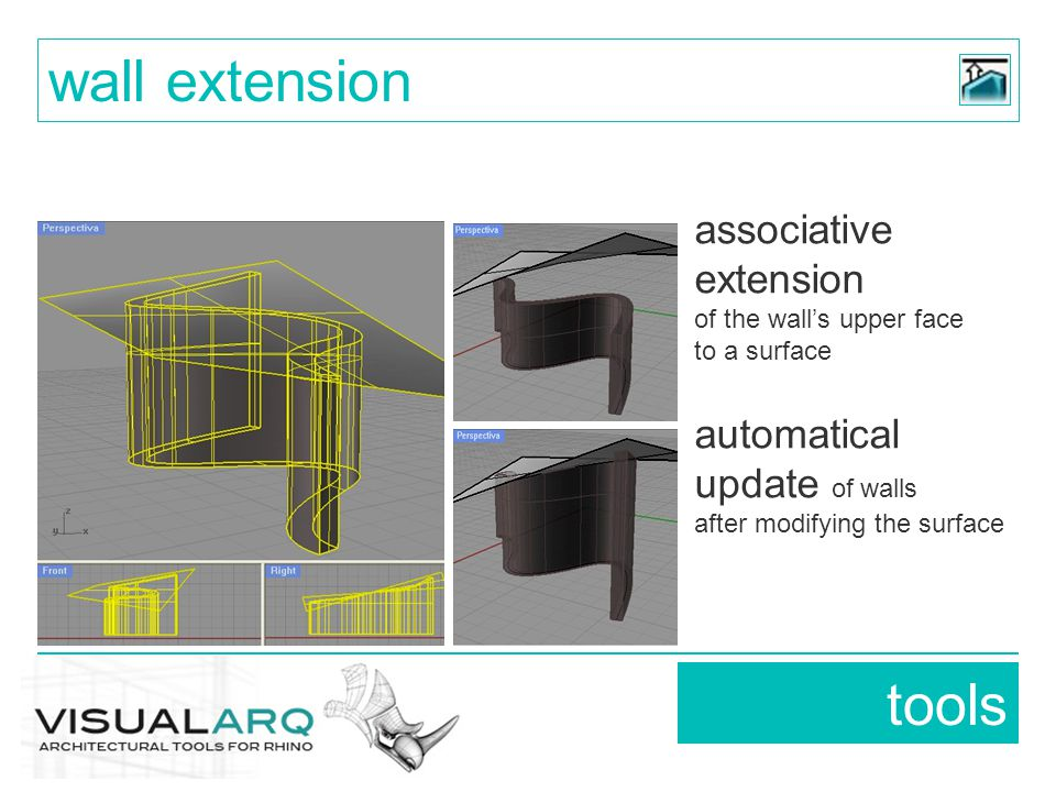 associative extension of the wall's upper face to a surface automatical update of walls after modifying the surface tools wall extension