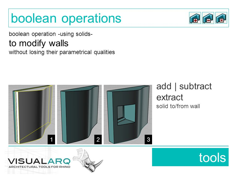 add | subtract extract solid to/from wall tools boolean operations 123 boolean operation -using solids- to modify walls without losing their parametrical qualities