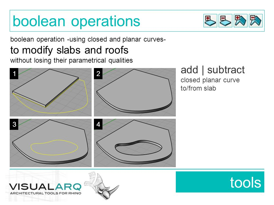 boolean operation -using closed and planar curves- to modify slabs and roofs without losing their parametrical qualities add | subtract closed planar