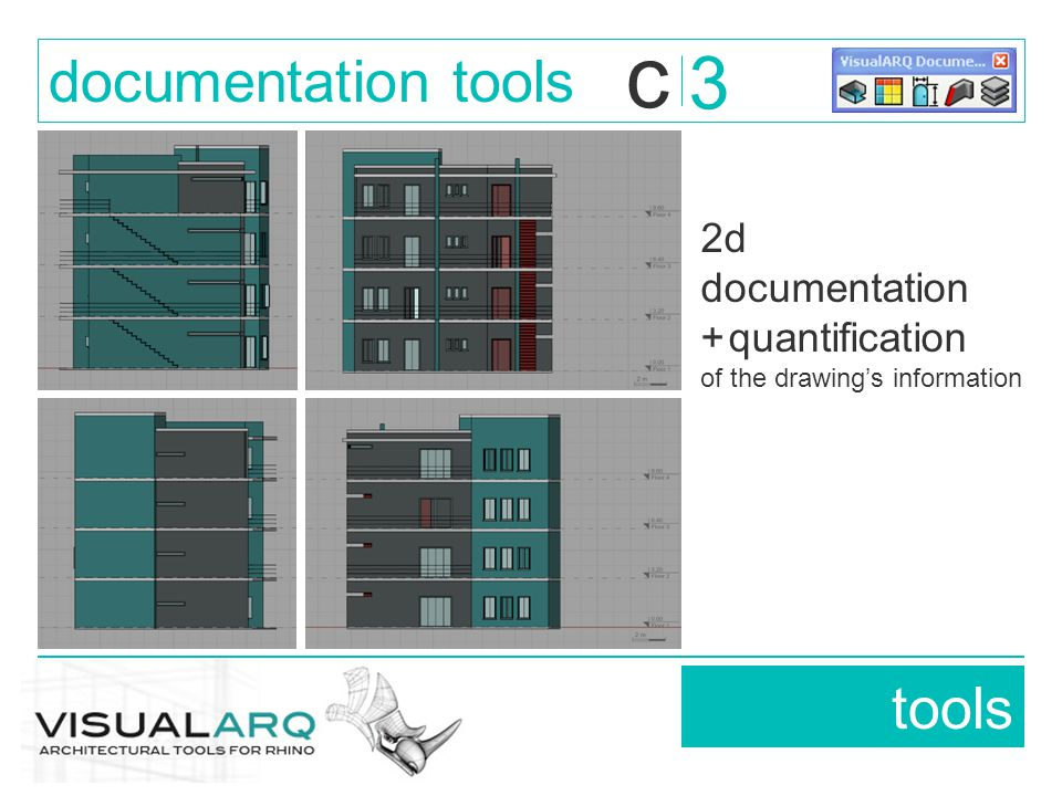 2d documentation + quantification of the drawing's information tools documentation tools 3 c