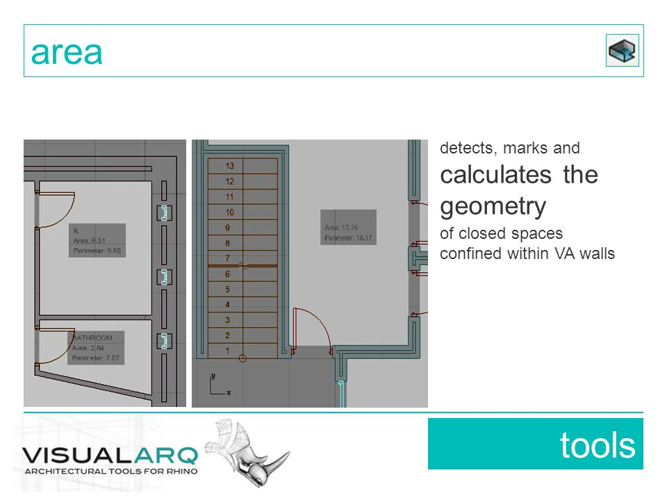 detects, marks and calculates the geometry of closed spaces confined within VA walls tools area