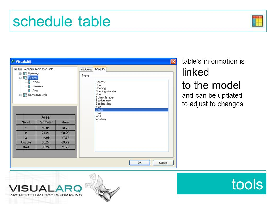 tools schedule table table's information is linked to the model and can be updated to adjust to changes