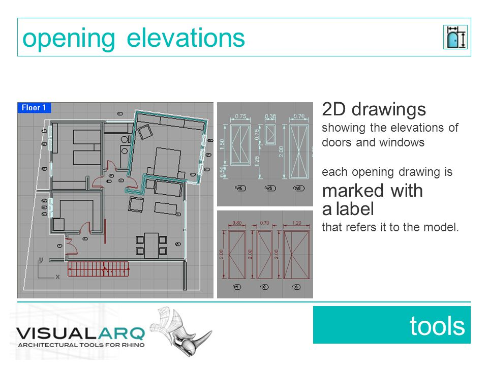 2D drawings showing the elevations of doors and windows each opening drawing is marked with a label that refers it to the model.
