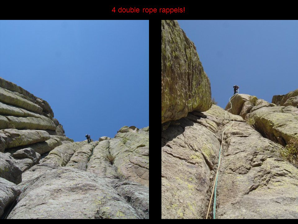 Down we go. 4 double rope rappels!
