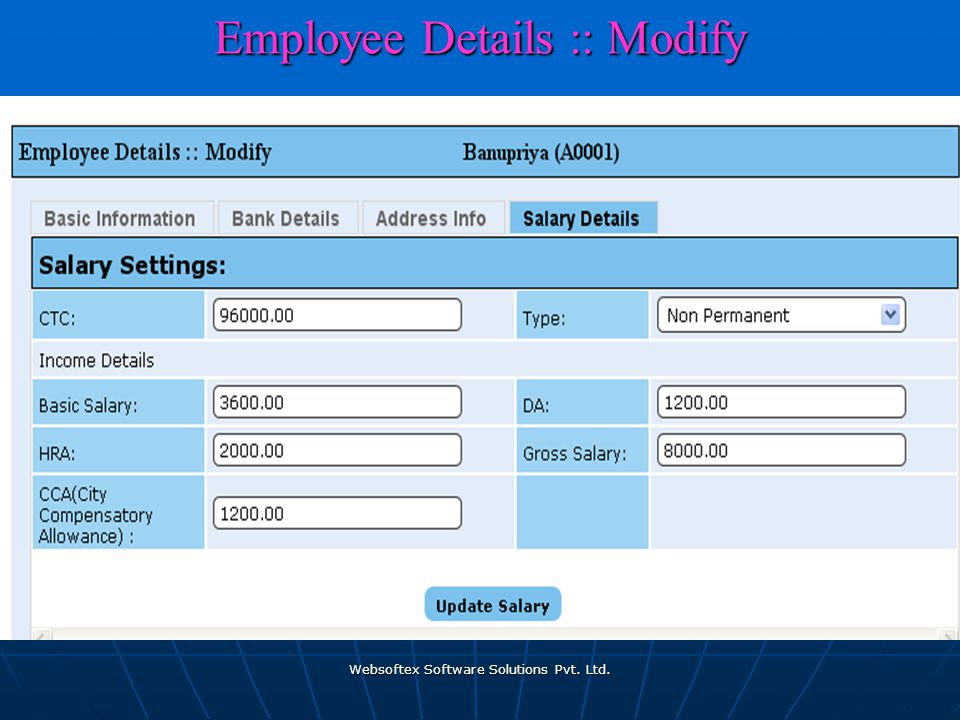 Websoftex Software Solutions Pvt. Ltd. Employee Details :: Modify