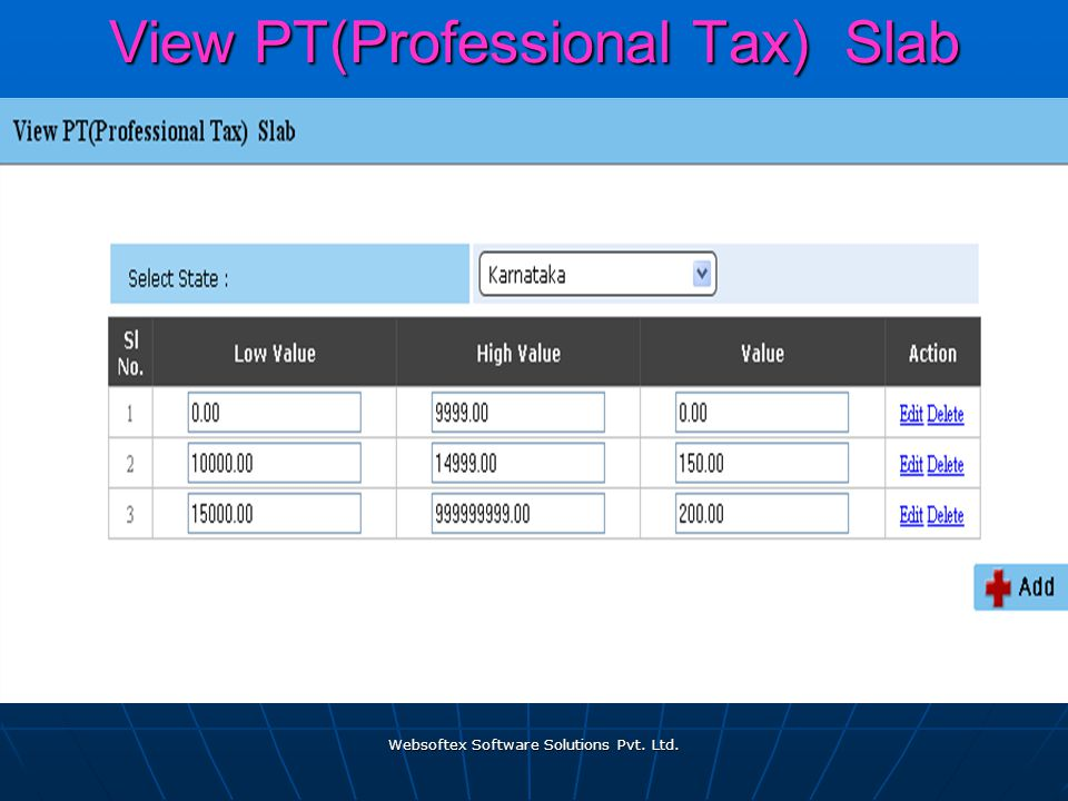 Websoftex Software Solutions Pvt. Ltd. View PT(Professional Tax) Slab