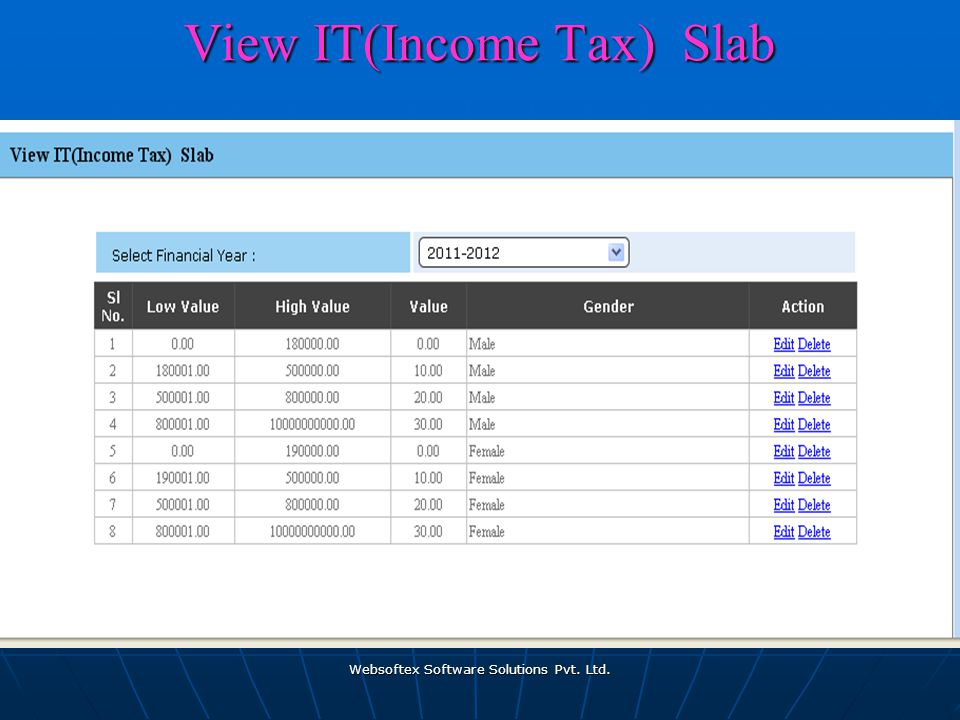 Websoftex Software Solutions Pvt. Ltd. View IT(Income Tax) Slab