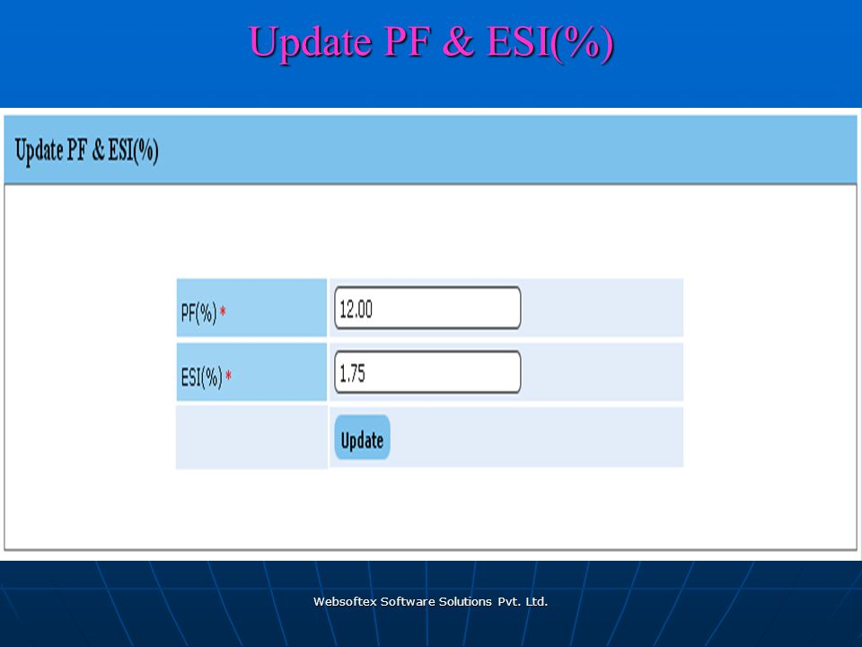 Websoftex Software Solutions Pvt. Ltd. Update PF & ESI(%)