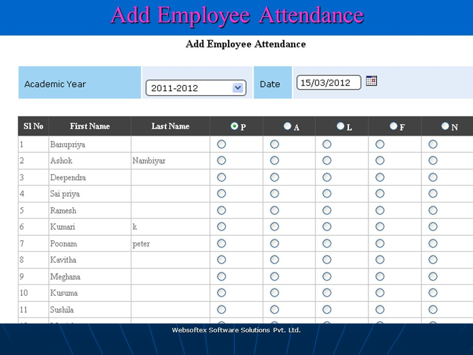 Websoftex Software Solutions Pvt. Ltd.Add Employee Attendance