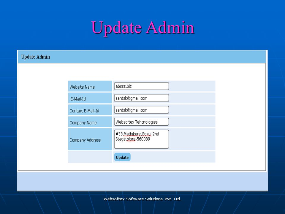 Websoftex Software Solutions Pvt. Ltd. Update Admin