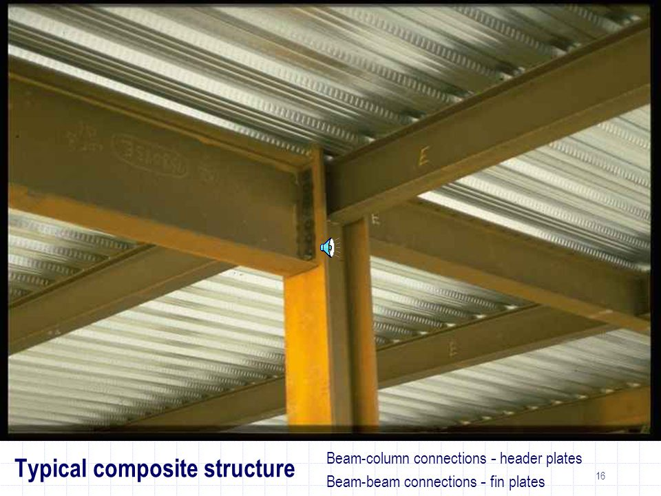 16 Beam-column connections - header plates Beam-beam connections - fin plates Typical composite structure
