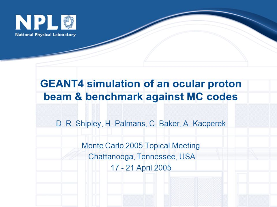 GEANT4 simulation of an ocular proton beam & benchmark against MC codes D.