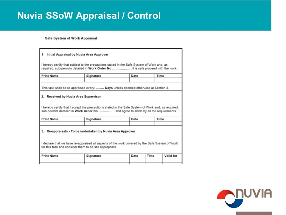 Nuvia SSoW Appraisal / Control