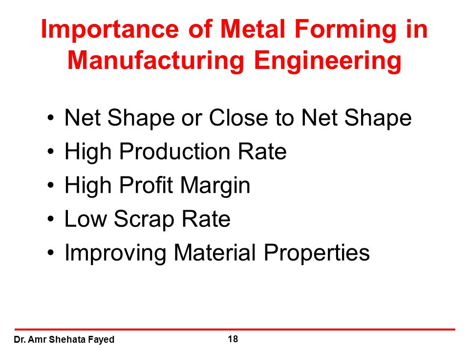 Dr. Amr Shehata Fayed 18 Importance of Metal Forming in Manufacturing Engineering Net Shape or Close to Net Shape High Production Rate High Profit Mar