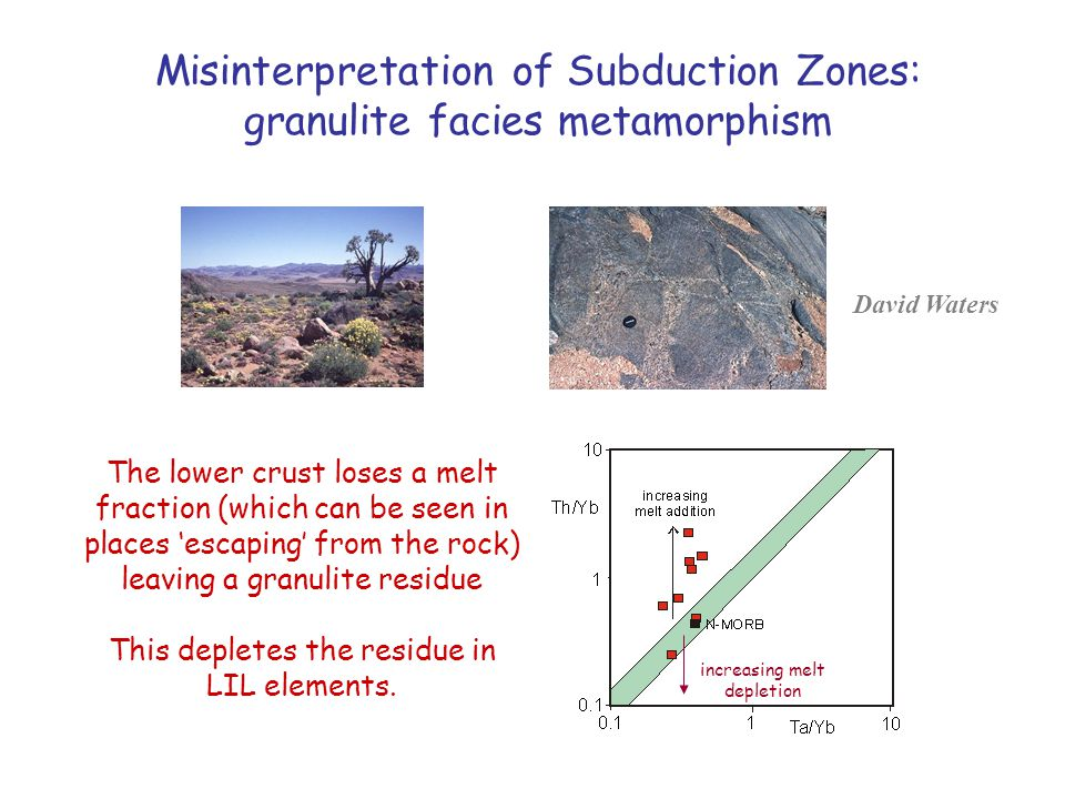 Misinterpretation of Subduction Zones: granulite facies metamorphism The lower crust loses a melt fraction (which can be seen in places 'escaping' from the rock) leaving a granulite residue This depletes the residue in LIL elements.