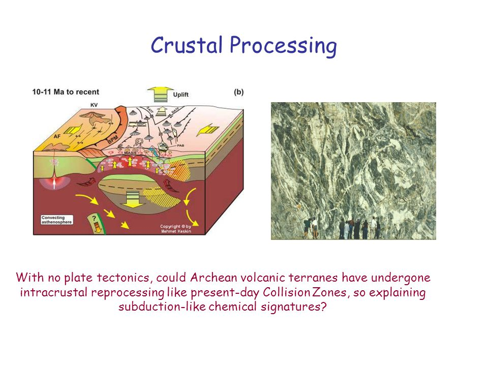 Crustal Processing With no plate tectonics, could Archean volcanic terranes have undergone intracrustal reprocessing like present-day Collision Zones,