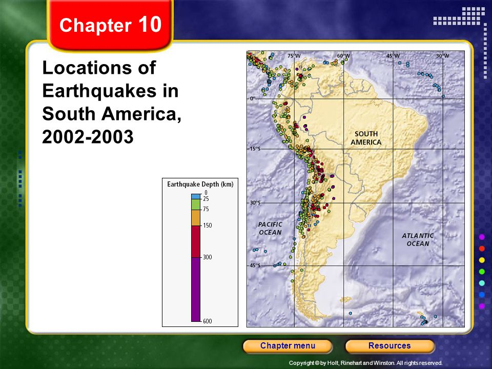 Copyright © by Holt, Rinehart and Winston. All rights reserved. ResourcesChapter menu Chapter 10 Locations of Earthquakes in South America, 2002-2003