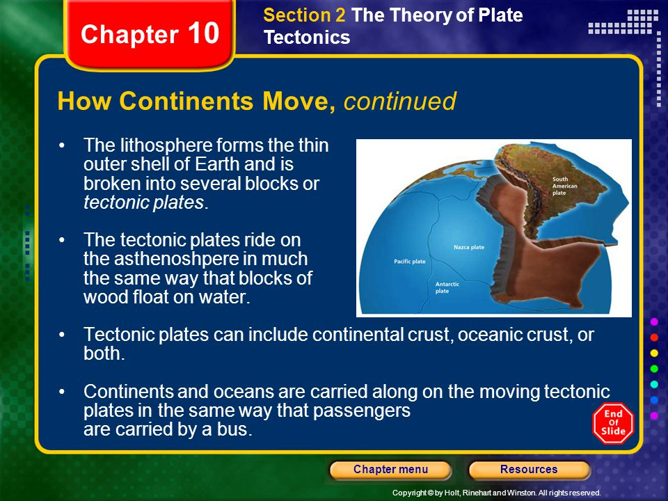 Copyright © by Holt, Rinehart and Winston. All rights reserved. ResourcesChapter menu Section 2 The Theory of Plate Tectonics Chapter 10 How Continent