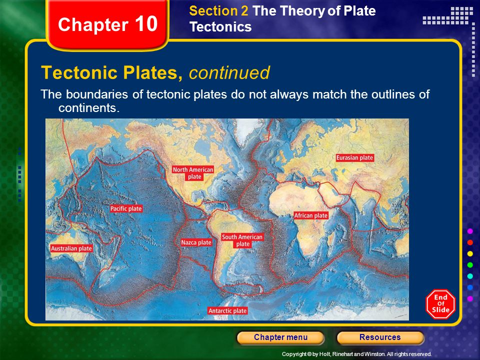 Copyright © by Holt, Rinehart and Winston. All rights reserved. ResourcesChapter menu Section 2 The Theory of Plate Tectonics Chapter 10 Tectonic Plat