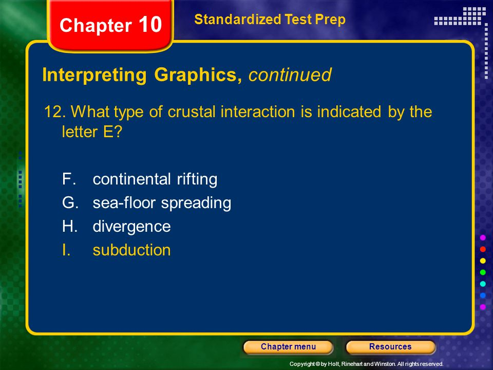 Copyright © by Holt, Rinehart and Winston. All rights reserved. ResourcesChapter menu Interpreting Graphics, continued 12. What type of crustal intera