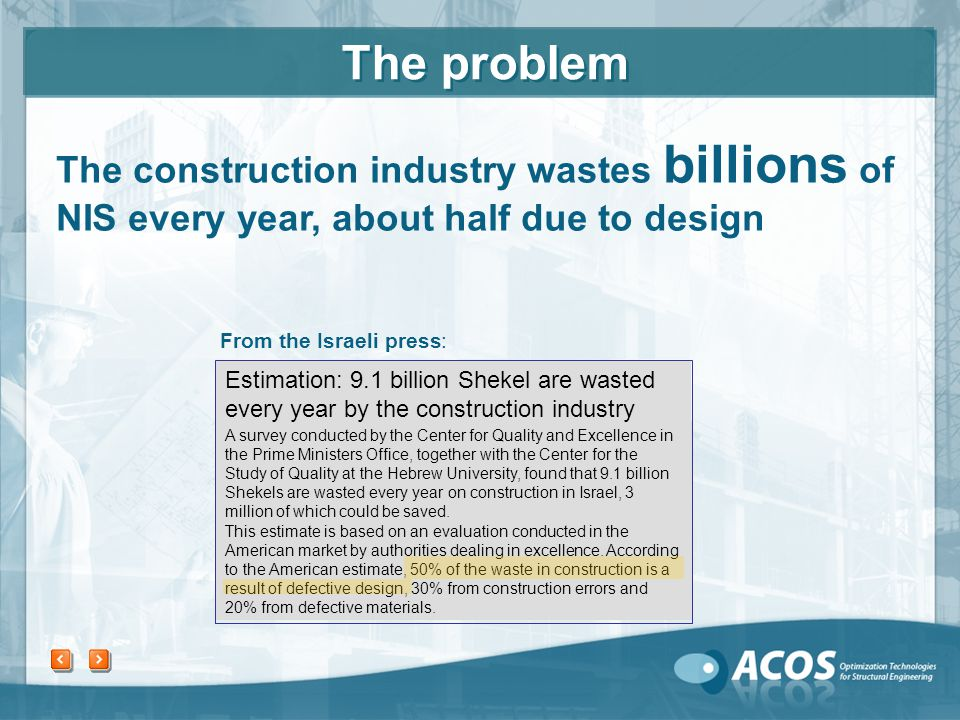 From the Israeli press: The construction industry wastes billions of NIS every year, about half due to design A survey conducted by the Center for Quality and Excellence in the Prime Ministers Office, together with the Center for the Study of Quality at the Hebrew University, found that 9.1 billion Shekels are wasted every year on construction in Israel, 3 million of which could be saved.