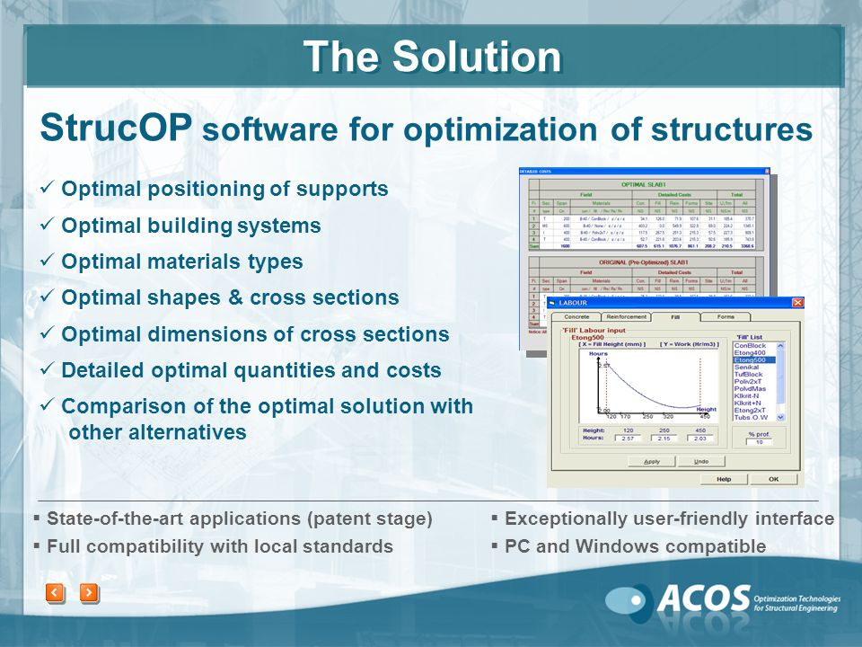 Analysis and design Choosing an alternative to be checked Comparison to other alternatives Choosing the preferred alternative S low, Subjective Automated optimization by StrucOP Automated optimization by StrucOP Prices and resource inputs from the Entrepreneur.