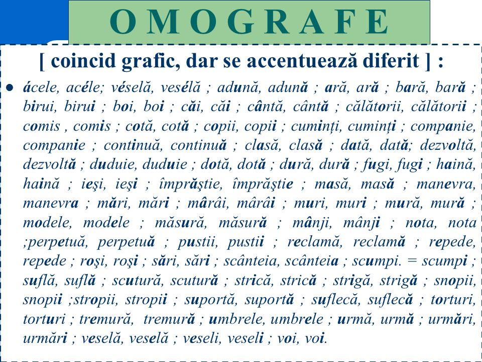 127 O M O F O N E [ coincid fonetic, dar nu grafic ] : altădată (adv.= odinioară) // altă dată (adj.+ subst.) ; altfel (adv.= altminteri) // alt fel (
