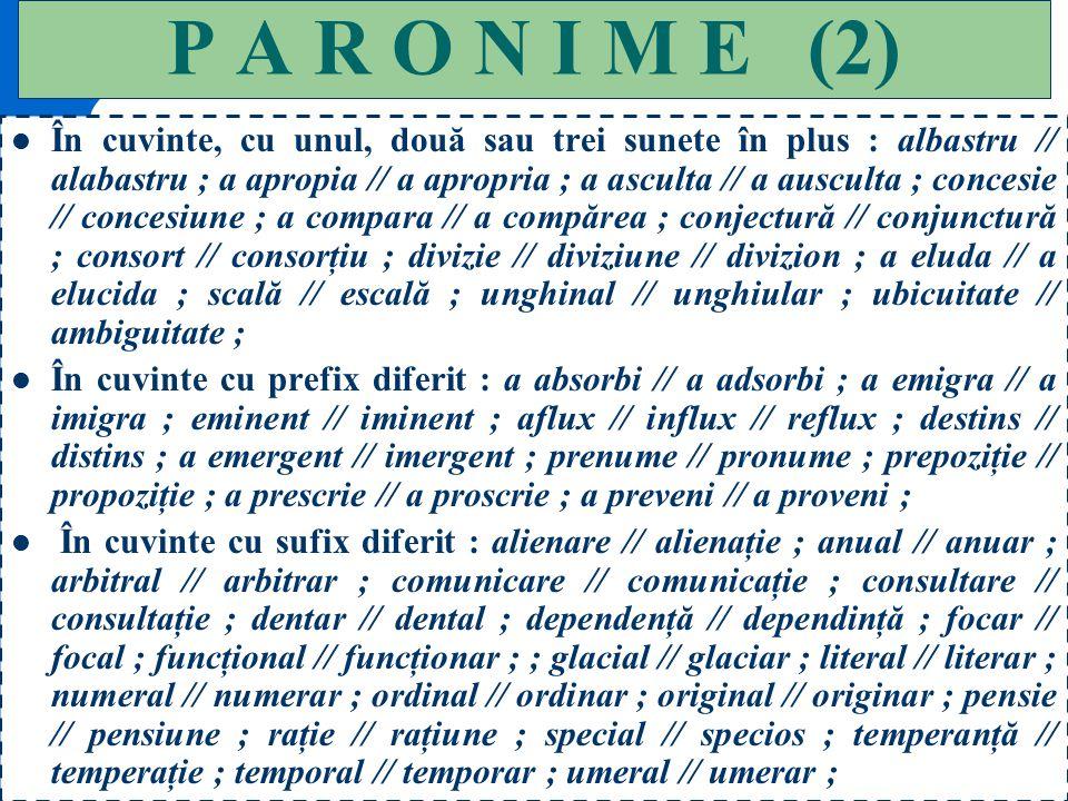 129 P A R O N I M E(1) În cuvinte, cu aceleaşi sunete, dar în ordine diferită : antonimie // antinomie ; cauzal // cazual ; corvetă // covertă ; menaj
