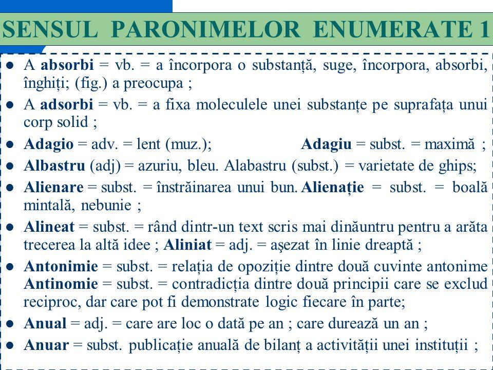 130 P A R O N I M E(2) În cuvinte, cu unul, două sau trei sunete în plus : albastru // alabastru ; a apropia // a apropria ; a asculta // a ausculta ;