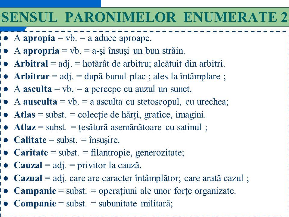 131 SENSUL PARONIMELOR ENUMERATE 1 A absorbi = vb. = a încorpora o substanţă, suge, încorpora, absorbi, înghiţi; (fig.) a preocupa ; A adsorbi = vb. =