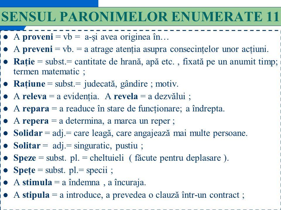 140 SENSUL PARONIMELOR ENUMERATE 10 Original = adj.= autentic, neimitat ; neobişnuit, ciudat. Originar = care este din loc din; de obârşie, de origine