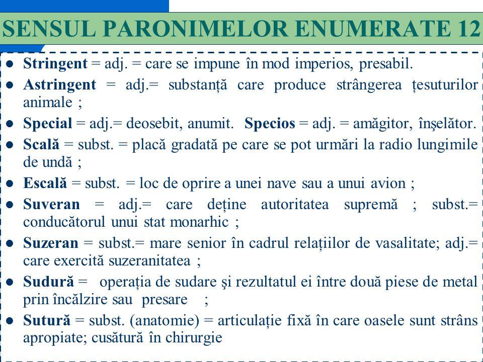 141 SENSUL PARONIMELOR ENUMERATE 11 A proveni = vb = a-şi avea originea în… A preveni = vb. = a atrage atenţia asupra consecinţelor unor acţiuni. Raţi