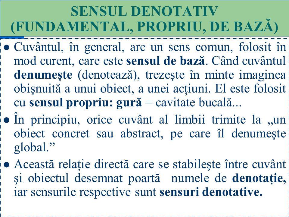 31 SENSUL CUVINTELOR ÎN CONTEXT Denotativ (fundamental, propriu, de bază) : gura cască ; pe umeri un rucsac ; Conotativ (figurat, expresiv, stilistic)