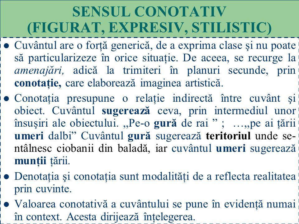 32 SENSUL DENOTATIV (FUNDAMENTAL, PROPRIU, DE BAZĂ) Cuvântul, în general, are un sens comun, folosit în mod curent, care este sensul de bază. Când cuv