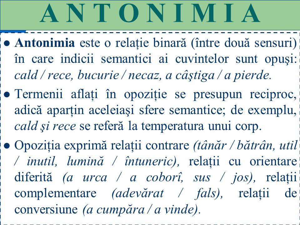 51 CATEGORII SEMANTICE ANTONIME (cuvinte cu sens opus, dar forme diferite); SINONIME (cuvinte cu aproximativ acelaşi sens, dar forme diferite); OMONIM