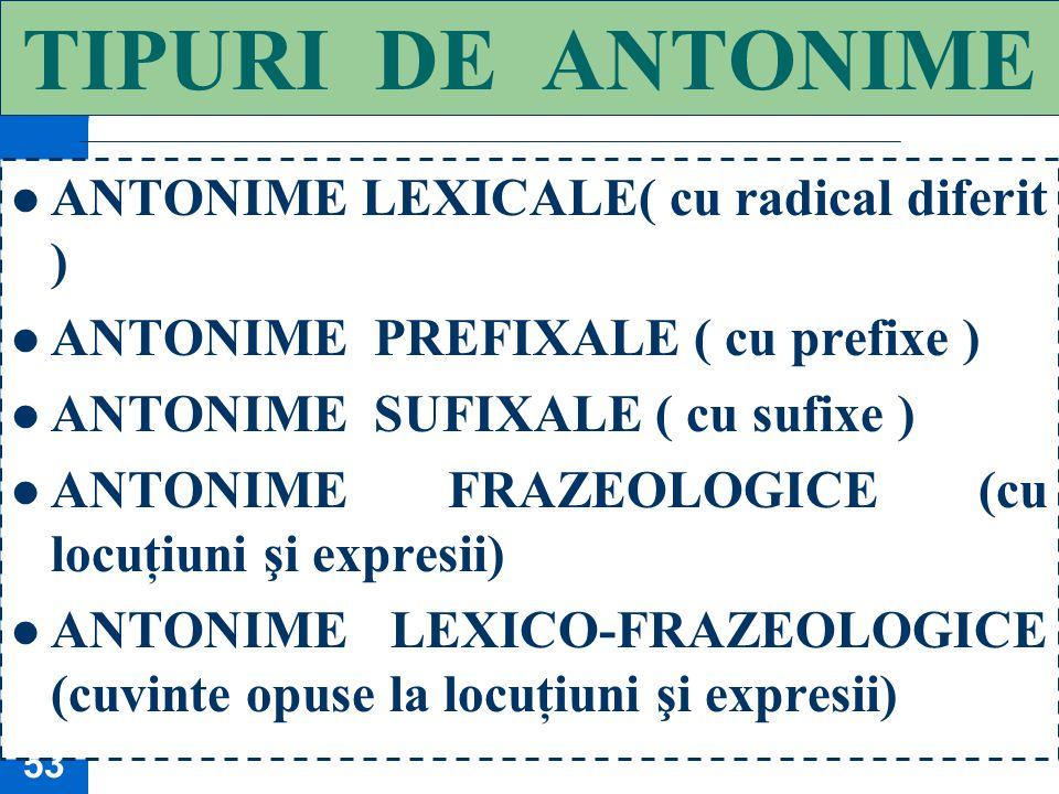 52 A N T O N I M I A Antonimia este o relaţie binară (între două sensuri) în care indicii semantici ai cuvintelor sunt opuşi: cald / rece, bucurie / n