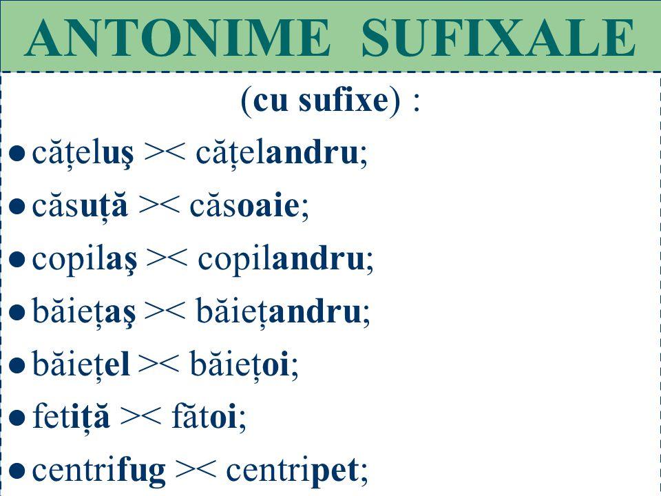 55 ANTONIME PREFIXALE (cu prefixe) : a acorda > < dezinteres;
