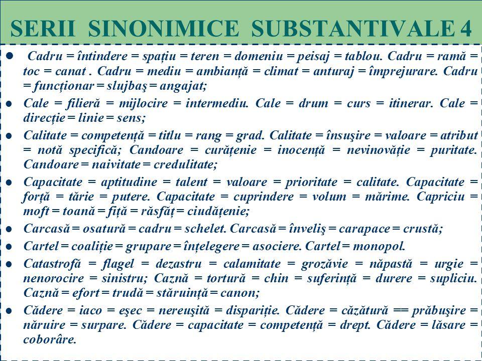 64 SERII SINONIMICE SUBSTANTIVALE 3 Blam = condamnare = înfierare = dezaprobare = reprobare; Blasfemie = hulă = calomnie; Blestem = imprecaţie = afuri
